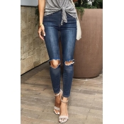 Lovely Fashion Broken Holes Blue Denim Jeans