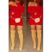 Lovely Casual Long Sleeves Red Blending Mini Dress