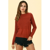 Lovely Work Long Sleeves Wine Red Acrylic Sweaters