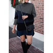 Lovely Casual Long Sleeves Patchwork Black Sweater