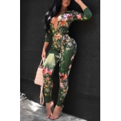 Lovely Sexy Deep V Neck Printed Knitting One-piece