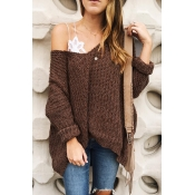 Lovely Casual Loose Brown Sweaters