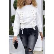 Lovely Trendy Bandage White Sweaters