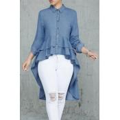 Lovely Chic Asymmetrical   Blue Denim  Blouses
