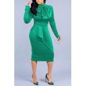 Lovely Elegant Long Sleeves Green Mid Calf Dress
