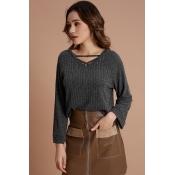 Lovely Trendy Long Sleeves Deep Grey Sweaters