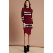 Lovely Trendy Striped  Wine Red  Mid Calf Dress