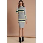 Lovely Trendy Striped Grey Mid Calf Dress