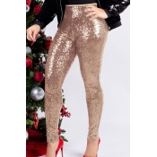 Lovely Trendy Sequined Skinny Apricot Cotton Pants