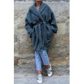 Lovely Casual Long Sleeves Loose Blue Coat(With Be