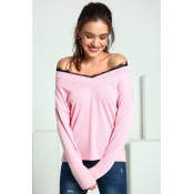 Lovely Trendy Parchwork Pink Cotton Sweaters