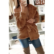 Lovely Trendy Lace-up Brown Coat(With Belt)