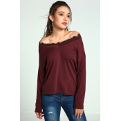 Lovely Casual Patchwork Wine Red Sweaters