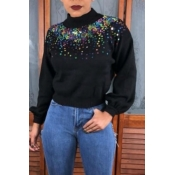 Lovely Casual Patchwork Black Knitting Hoodies