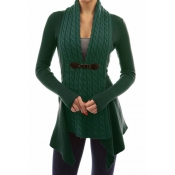 Lovely Trendy Patchwork Green Cardigan Sweaters