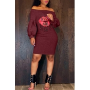 Lovely Trendy Dew Shoulder Wine Red Blending  Knee Length Dress