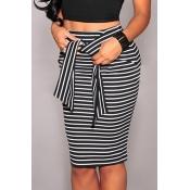 Lovely Trendy Striped Black Cotton Blends Knee Len