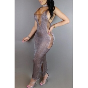 Lovely Sexy V Neck Sleeveless Hollow-out Silver Kn