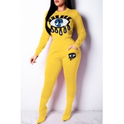 Lovely Trendy Sequined Decorative Yellow Two-piece Pants Set