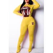 Precioso Conjunto De Pantalones De Dos Piezas De Lentejuelas Amarillas Decorativas De Moda.