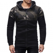 Lovely Casual Patchwork Black Cotton Hoodies