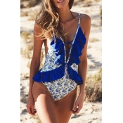 Lovely Casual Flounce Design Blue One-piece Swimwe