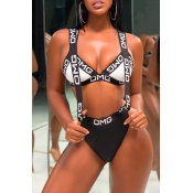 Lovely Chic Patchwork Black Two-piece Swimwears