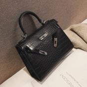 Lovely Trendy Black PU Shoulder Bags