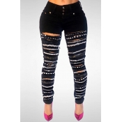 Lovely Stylish High Waist Sequined Decorative Blac