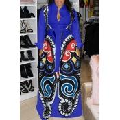 Abito Lungo Blu Royal Con Stampa Casual Elegante