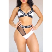 Lovely Sexy Hollowed-out Printed White Two-piece S