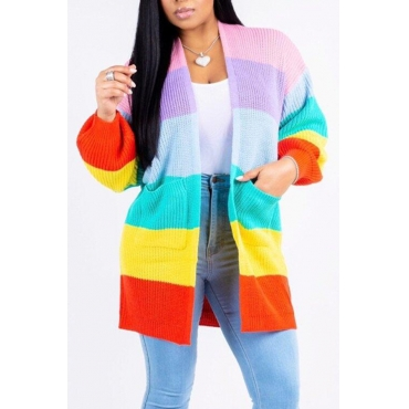 Lovely Sweet Color-lump Patchwork Multicolor Knitting  Cardigan Sweaters