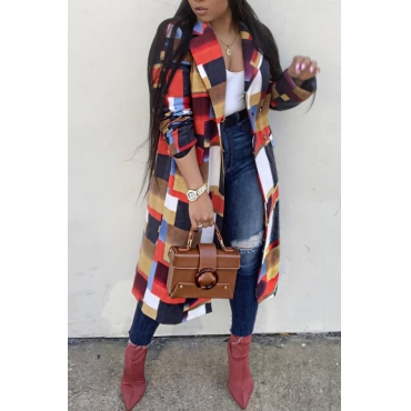 Lovely Trendy Patchwork Red Trench Coats (Pre-sale,Shipment Within 7 Days)