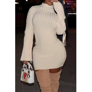 Lovely Casual  Lace-up Beige Mini Dress