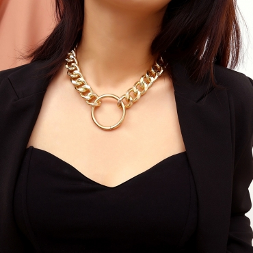 Lovely Punk  Geometric Gold Metal  Necklace