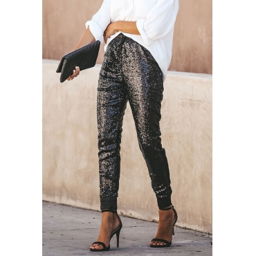 Lovely Trendy Patchwork Black Sequined Pants