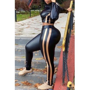Lovely Trendy Striped Black PU Two-piece Pants Set