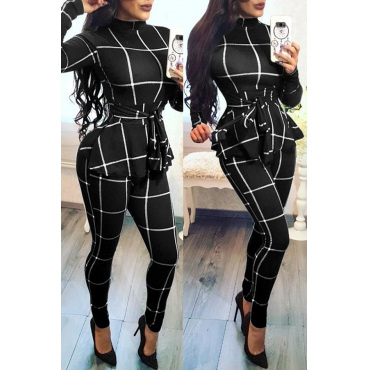 Lovely Casual Long Sleeves Plaids Black One-piece Jumpsuit