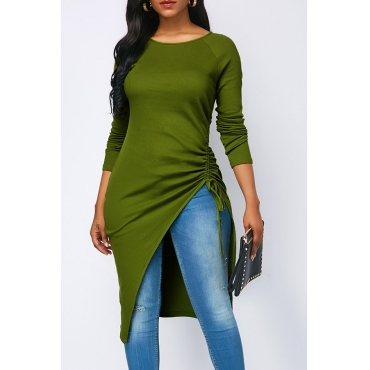 Lovely Casual Asymmetrical  Grass Green Twilled Satin T-shirt