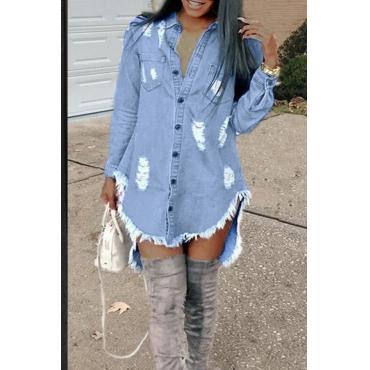 Lovely Fashion Worn Out Design Blue Mini Dress