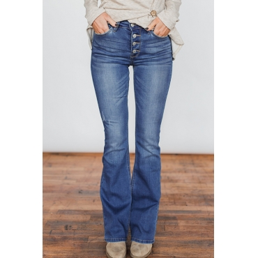 Lovely Casual Buttons Blue Denim Jeans
