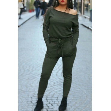 Lovely Casual Lace-up Army Green Blending  One-piece Jumpsuit