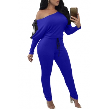 Lovely Casual Lace-up Royal Blue Blending One-piece Jumpsuit
