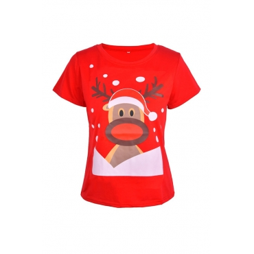 Lovely Casual Animal Printed Red T-shirt