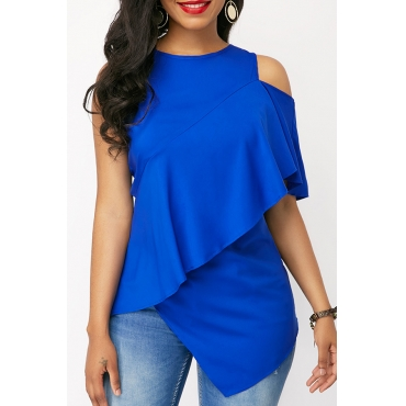 Lovely Casual Asymmetrical Blue Cotton T-shirt