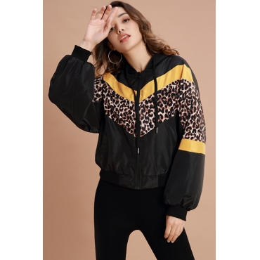 Lovely  Casual Leopard Black Jacket