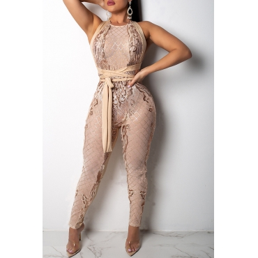 Lovely Casual  Sequined Decorative Apricot Lace One-piece Jumpsuit