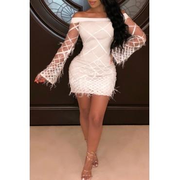 Lovely Trendy Trumpet Sleeves White  Blending Mini Dress