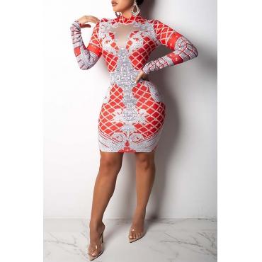 Lovely Casual  Printed Slim Red Blending  Knee Length  Dress