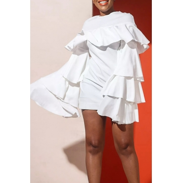 Lovely Trendy Layered Flounce White Twilled Satin Mini Dress